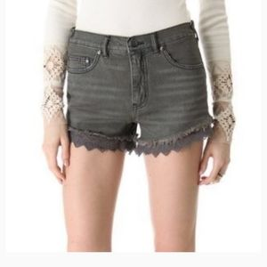 Free people high rise shorts with lace hem